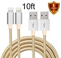 LOVRI 2Pack 10ft Nylon Braided Lightning Cable USB Cord Charging Cable for iphone 6s, 6s plus, 6plus, 6,5s 5c 5,iPad Mini, Air,iPad5,iPod. Compatible with iOS9.(White&Gold)