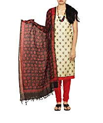 Unnati Silks Women Unstitched cream-red pure Jute khadi sico salwar kamiz dress material