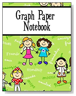 Graph Paper Notebook For Girls - Scattered across a green background is the word Friendship written in several languages. Cartoon girls are also featured on the cover of this graph paper notebook for younger kids.
