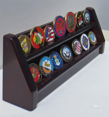 2 Rows Challenge Coin/Poker Chip Display Rack Stand, Alternative to