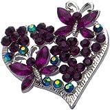 Jodie Rose 'Amethyst' Colour Crystal Heart Brooch
