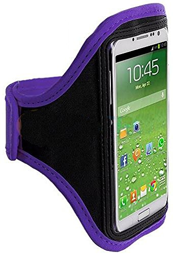 Mylife (Tm) Purple + Black Velcro Strap (Light Weight Flexible Neoprene + Secure Running Armband) For Samsung Galaxy S3 And S4 Touch Phone (Designed For All Galaxy S3 And S4 Models From All Carriers + Universal One Size Fits All + Velcro Secured + Adjusta