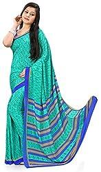 Design Willa Smooth feel Art crepe Sari (DWPC042,Green)