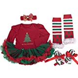 TANZKY® Baby Girls' My First Christmas Outfit 4PCs Tutu Dress Headband Shoes Leggings