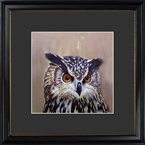 King Silk Art 100% Handmade Embroidery Multiple Framed Long-Eared Brown Owl Oriental Wall Hanging Art Asian Decoration Tapestry Artwork Picture Gifts 31084BFB3