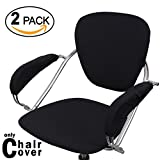 Voilamart Chair Covers, 4-in-1 Seat Backrest Armest Covers, Stretchable Rotating Office Chair Cover for Swivel Chair Desk Gaming Chair - Pack of 2, Black