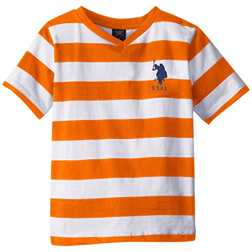 U.S. Polo Assn. Little Boys' Short Sleeve Bold Striped V-Neck Tee, Summer Orange, 5/6