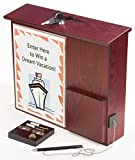 Wood Wall-Mounting Suggestion Box, Ballot Box with Locking Lid, Pocket, Sign Holder and Pen - Red Mahogany