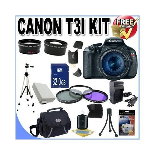 Canon EOS Rebel T3i 18 MP CMOS Digital SLR Camera and DIGIC 4 Imaging with EF-S 18-55mm f/3.5-5.6 IS Lens +58mm 2x Telephoto lens + 58mm Wide Angle Lens (3 Lens Kit!!!!!!) W/32GB SDHC Memory+ Extra Battery/Charger + 3 Piece Filter Kit + Full Size Tripod + Case +Accessory Kit ! Review