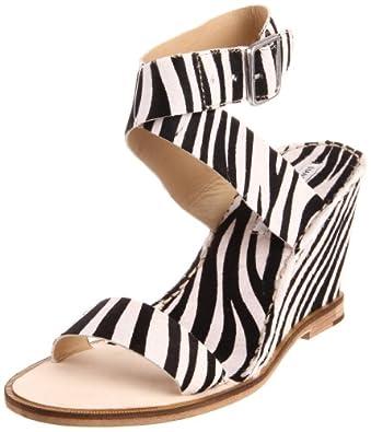 Diane von Furstenberg Women's Dene Sandal,Black/White Tiger,5 M US