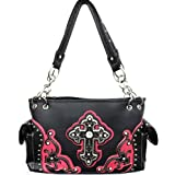 Pink and Black Detailed Cross Conceal and Carry Purse with Rhinestones