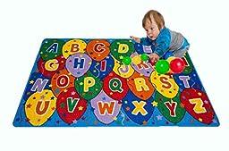Kids Rug ABC Ballons Area Rug 5\' x 7\' Children Area Rug for Playroom & Nursery - Non Skid Gel Backing (59\