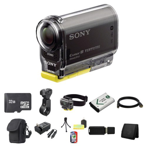 Sony High Definition POV Action Video Camera HDR-AS30V + 32GB MicroSDHC Class 10 Memory Card + Sony VCTGM1 Headband and Clip-on Kit for Waterproof Housing + Sony VCTHM1 Handlebar Mount + NP-BX1 Lion Battery + HDMI Cable + Carrying Case + External Rapid Charger + Table Top Tripod, Lens Cleaning Kit, LCD Protector + USB SDHC Reader + Memory Wallet best price