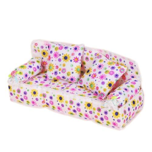 Puppen-Sized-Mbel-Blume-drucken-Sofa-Couch