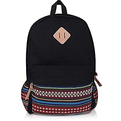 """Plambag Canvas Casual Daypack Backpack 14""""-15"""" Laptop PC School Bag for Teenage Girls"""