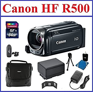 Canon VIXIA HF R500 HD Camcorder (Black) Bundle, includes: 64GB SDXC Memory Card, Card Reader, 2-Hour Spare Battery, Small Camcorder Bag, Lens Cleaning Kit, Small Tripod, Memory Card Wallet, Mini HDMI Cable and CA-110 Compact Power Adapter