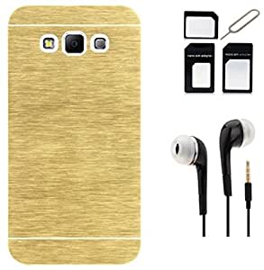 Tidel Golden Durable Aluminium Brushed Metallic Back Cover For Samsung Galaxy On7 With 3.5mm Earphone & Micro/Nano SIM Adapter