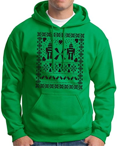Ugly Christmas Sweater Robots Hoodie Sweatshirt Medium Green