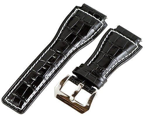 24Mm Black / White Croco Leather Replacement Watch Band Strap - Made For Bell & Ross