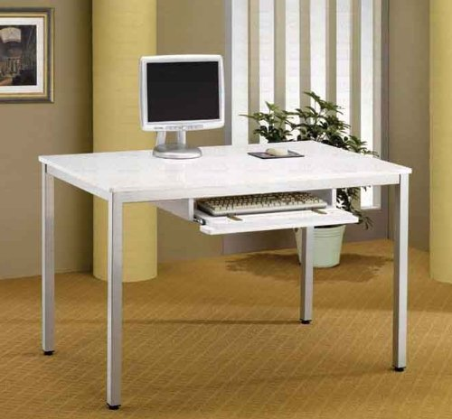 Buy Low Price Comfortable Computer Workstation with Metal Legs in Sleek White Finish (B002OVPCOW)