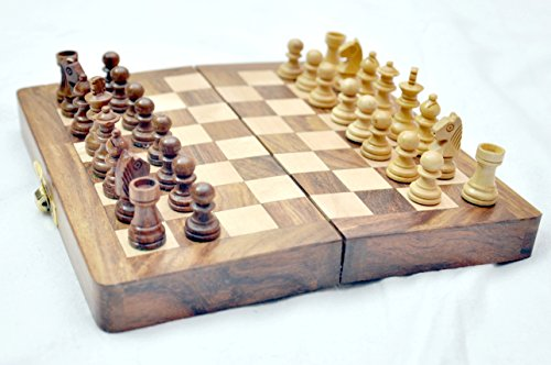"""Kimaro 7"""" Magnetic Form Fitting Folding Wooden Travel Chess Set - 7 in x 7 in - With Wood Pieces in Case - Handmade 0"""
