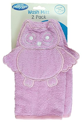 "2-Pack Baby Wash Mitts 9.5"" X 5.5"" - Owl (Pink) front-58804"