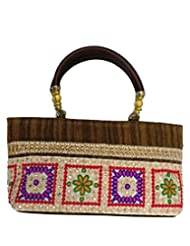 Bhamini Raw Silk Handbag With Traditional Embroidered Lace (Brown)