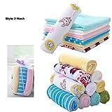 8Unidades Super Suave bebé paños, reutilizable Toallitas Húmedas, 8x 8pulgadas algodón Premium-, varios colores de microfibra regalo para bebé ducha/bolsa de malla estilo 2