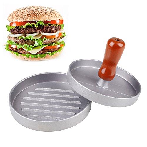 Thinp Presse Viande Hamburger, Presse Burger Aluminium, Moule Viande avec Revêtement Anti-adhésif, idéal pour BBQ , Faire des Hamburgers Végétariens, Steak Viande Légume Haché - Argent
