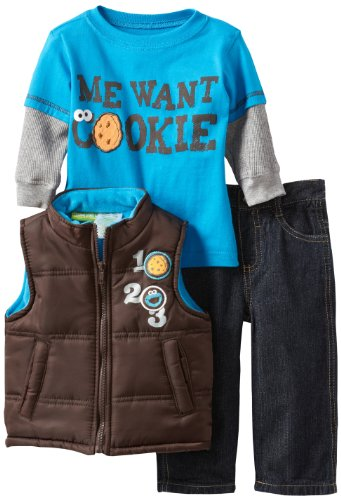 Sesame Street Baby-Boys Infant 3 Piece Me Want Cookie Vest, Pullover and Pant