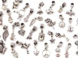 Nambeads © 10 Mixed Tibetan silver dangle Charms to fit Pandora Chamilia Troll style European charm bracelets-Slide on Slide off type-Hole is 5mm. Check our range of affordable glass beads,charms,clip stops,rhinestones etc. Great Mix!