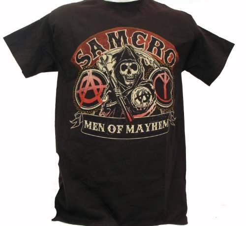 Sons of Anarchy SOA Men of Mayhem SAMCRO Biker T-shirt (XL, Black)