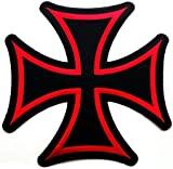 Large Maltese Cross Iron On Patch Embroidered Red Gothic Motorcycle Biker Vest Emblem