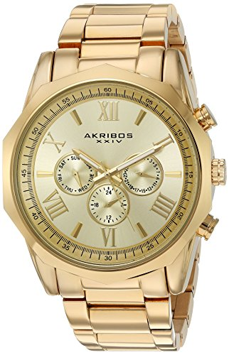 Akribos-XXIV-Mens-Gold-Tone-Multi-Function-Dodecagon-Bezel-with-Gold-Tone-Dial-on-Gold-Tone-Stainless-Steel-Bracelet-Watch-AK940YG