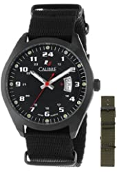Calibre Men's SC-4T1-13-007SC Trooper Black Ion-Plated Coated Stainless Steel Interchangeable Black/Green Canvas Straps Watch Set