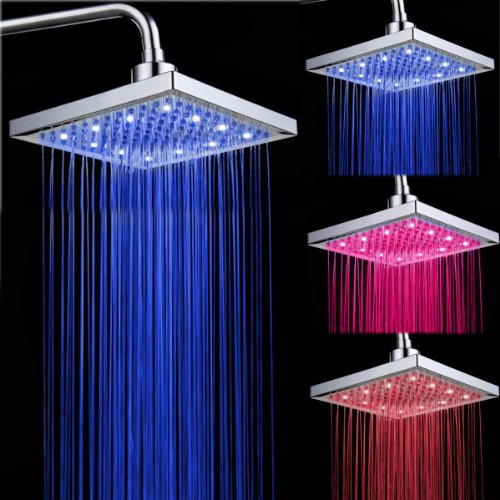 Vdomus® Fantastic 8In 8 Inch Wall Mount Led Color Changing Brass Square Rainfall Overhead Showerhead, Chrome(Sold Without Showerhead Arm)
