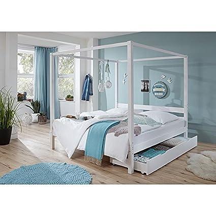 Himmelbett mit Bettschubkasten ● massiv weiß lackiert ● Liegefläche 140x200cm ● Jugendbett Gästebett Einzelbett