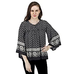 Women's Printed Peasant Top, Long Bell Sleeves, Trendy/Styish/Smart/Casual Top Wear for Women and Girls, Black