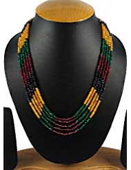 Aradhya Five Layer Multi-Colour Original Crystal Beads Necklace For Women And Girls
