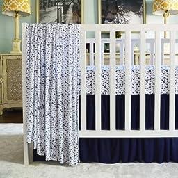 Oliver B Pleated Modal Crib Skirt, Navy/White