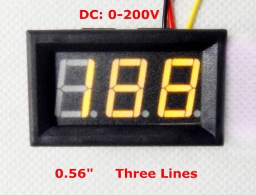 """Smakn 3 Digits 0.56"""" 3 Wire Dc 0-200V Yellow Led Digital Voltmeter Voltage Display Module With Reverse Protection"""