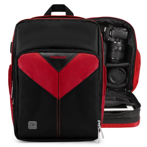 Vangoddy Sparta - Fire Red Black Compact Backpack Dslr Camera & Tablet Case Bag For Nikon D800, D610, D600, D300, D7100, D7000