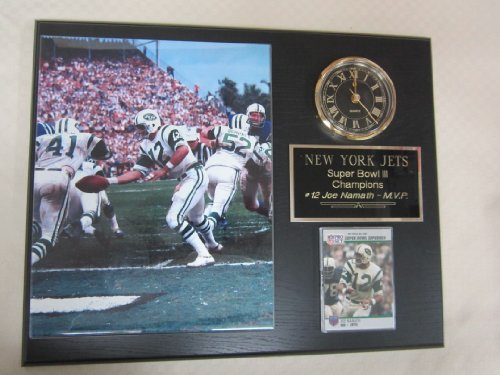 New York Jets Super Bowl III Champions Collectors Clock Plaque w/8x10 Photo and Card at Amazon.com