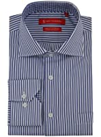 Gino Valentino Mens Dress Shirt Cotton Spread Collar White Blue Striped