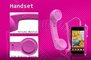 Pink Frosted Anti-Radiation Phone The 'Retro' handset for iphone 5 4S 4 3GS Samsung Galaxy Note II 2 N7100 N7000 SII S2 i9100 SIII S3 i9300 + Pink HISNI Touch Screen Stylus Pen