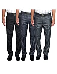 Routeen Men's Yotaka Slim Fit Formal Trousers - Blue, Black, Coffee (Combo Pack Of 3)