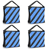 Slow Dolphin Black/Blue Saddlebag New Sand Bags Heavy Duty Saddle Bag Holds 20 IBS Weight Bags for Photo Studio Light Stand -4 Packs Set