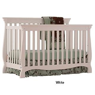 Stork Craft Carrara 4-in-1 Fixed Side Convertible Crib, White