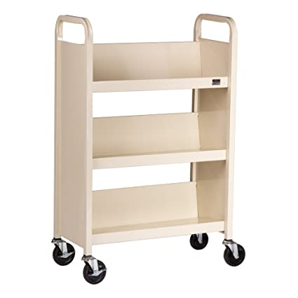 "Single-Sided Sloped-Shelf Book Truck (27"" W) - Almond"
