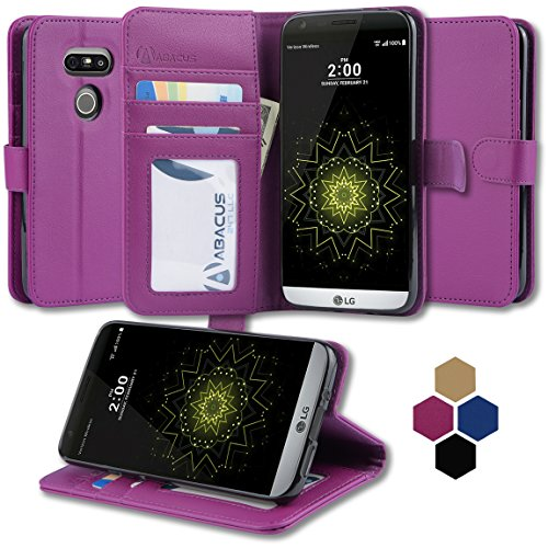 06. LG G5 Case by Abacus24-7, Purple Flip Leather Wallet Case and Stand for LG G5 phone